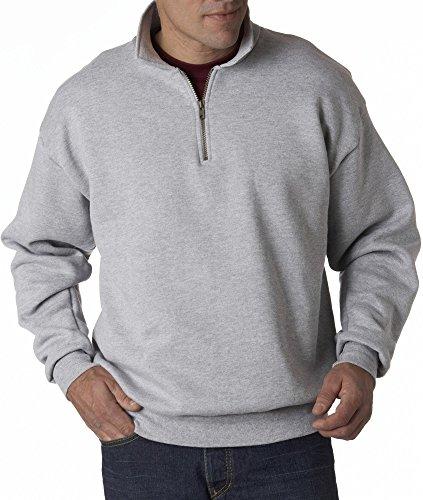 Jerzees Mens Super Sweats 50/50 Quarter-Zip Pullover (4528) -ASH -XL -