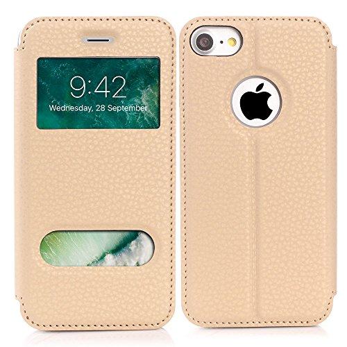 iPhone 7 Hülle, Feitenn PU Leder Tasche Wallet Flip Folio Case Schutzhülle mit Auto Schlaf/Aufwachen Funktion Magnetisch Stand PU Cover TPU Back Protective Stoßfest Case für Apple iPhone 7, 4.7 Zoll - Gelb