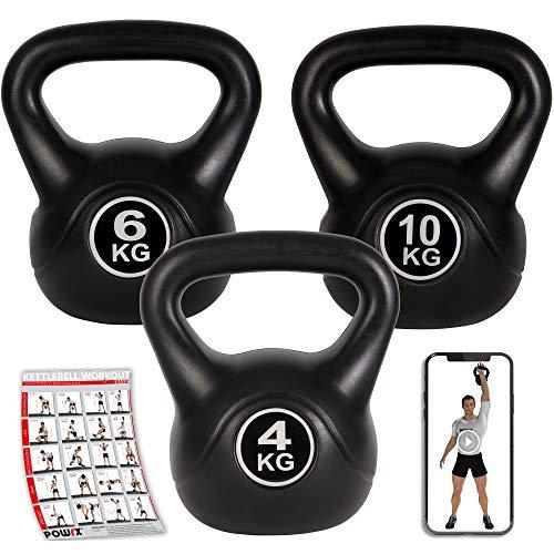 POWRX - Kettlebell 20 kg Set (4 kg, 6 kg, 10 kg) + PDF Workout