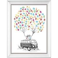 Wedding Tree Bus personalisiert, Fingerabdruck-Baum Poster 29x42cm, Geschenk zur Hochzeit, Alternative zur: Wedding Tree Leinwand und zum Hochzeitsgästebuch