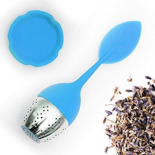 Teami Blends Hochwertiges Teeei für Teeliebhaber–mit Stahlball–Blatt-Deckel und Abtropf-Teller aus Silikon–mit Silikongriff blau (Ball Tmi)