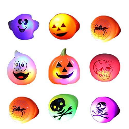 BEETEST 10 piezas LED de luz Juegos Anillos Luces Niños para arriba flash Halloween Party favor anillos al azar estilo