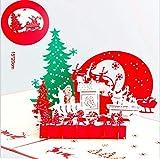 BC Worldwide Ltd fatto a mano 3D pop up biglietto di auguri Natale Natale vigilia notte silenziosa Babbo Natale renna slitta sempreverde conifera papercraft regalo per amici e familiari