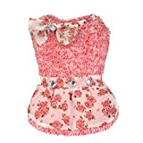 Angelof Vêtements de chien Pet dot bowknot robe charme princesse zircon jupe vêtements (M, Rouge)