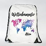 Wandtattoo-Loft Rucksack – Turnbeutel Weltenbummler – Weltkarte mit WUNSCHNAMEN