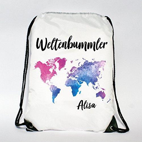 Wandtattoo-Loft Rucksack - Turnbeutel Weltenbummler - Weltkarte mit Wunschnamen -