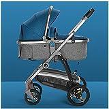 GSDZN - Passeggino 2 in 1 Ad Alto Paesaggio Bambino può Sedersi Reclinabile Leggero Pieghevole Shock A Due Vie Quattro Round Sistema Combinato,Blue