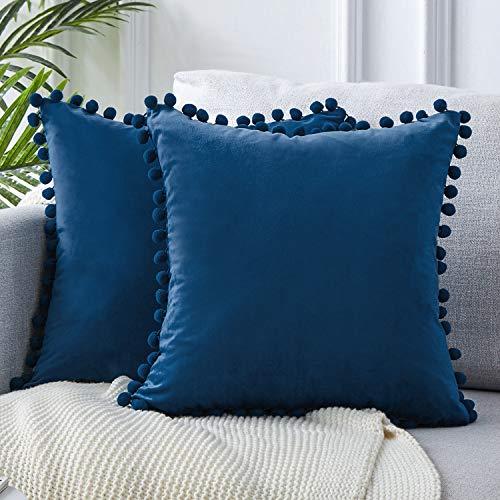 Topfinel federe cuscini coperture con palline comode velluto cotone per divano decorativi letto 2 pezzi, 45x45 cm blu