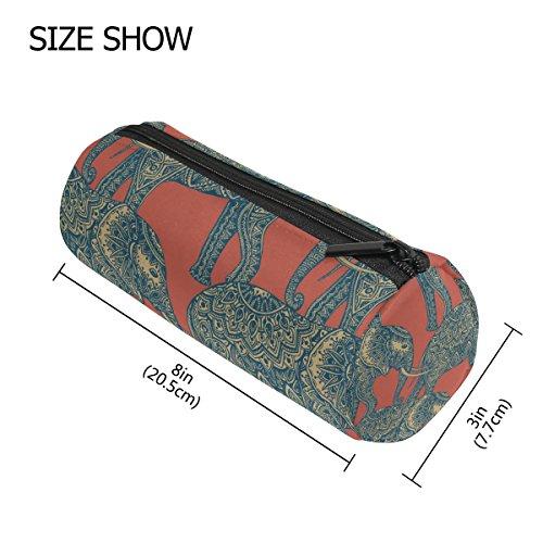 TIZORAX Elegante Estuche de Elefantes indios con cremallera para bolígrafos, monedas, organizador...