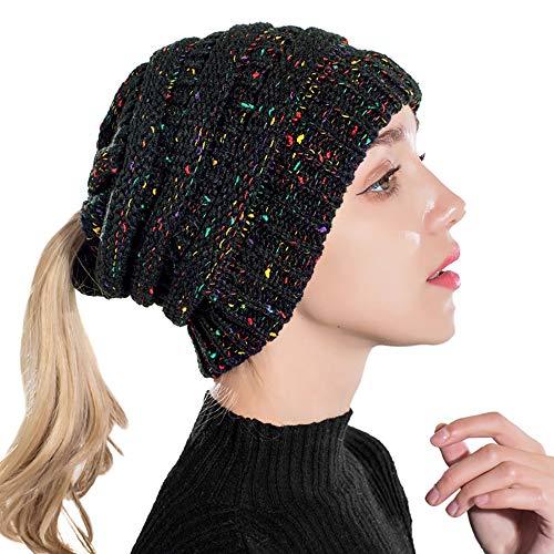 Taidor Messy Bun Ponytail Hat Chapeau Bonnet Tricoté Câble Cape tricotée pour  Femmes Filles Hiver Noir d5609bf5527
