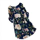 QUINTRA Frauen Blumendruck Minikleid Sommer Party Langarm Kleid Plus Größe (Blau, 2XL)