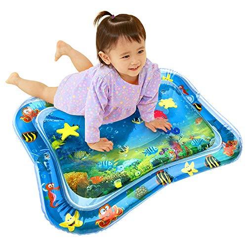 Womdee Inflatable Sensory Wasser-Spielmatte Für Babys, Tummy Time Wassermatte Spielzeug, BPA-freie Wasserspielmatte Mit Schwimmenden Tieren, 25,6 X 19,7 Zoll - 1 Pack