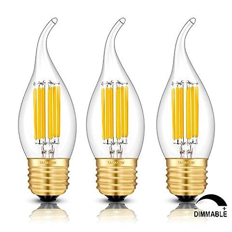 TAMAYKIM C35 6W Dimmbar Glühfaden LED Kerze Lampe, 2700K Warmweiß