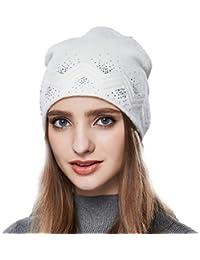 02cc1a55c4f URSFUR Automne Hiver Chapeau Bonnet Jersey Beanie Femme Fille Bonnet Tricot  Laine à Strass