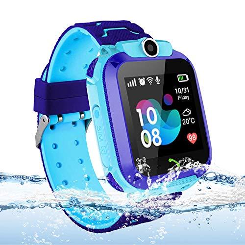 Vannico Localizador GPS Niños, Reloj GPS Niños Localizador con SOS Anti-Lost Alarm Sim Ranura para Tarjeta Pantalla Táctil Smartwatch para 3-12 Años De Edad Regalo De Cumpleaños Niños Niñas(Blue)