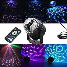 blingco Mini LED luz giratorio automático Etapa iluminación 3W RGB sprachak tiviertes Cristal Magic Ball etapa luz con controlador para DJ Discoteca baile KTV Varilla Stadium Club Party
