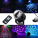 Blingco Mini LED Licht Rotation Automatisch Bühnenbeleuchtung 3W RGB Sprachaktiviertes Kristall Magic Ball Bühnenlicht mit Controller für DJ Disco Ballsaal KTV Stab Stadium Club Party