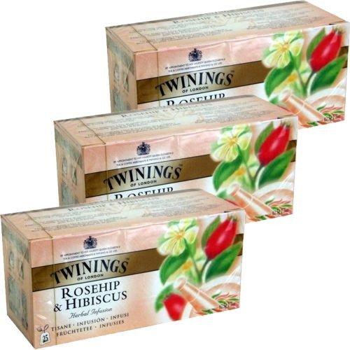 Twinings Teebeutel Rosehip & Hibiscus 3 x 25 Btl. (Hagebutte & Hibiskus) Tee-hibiscus Hagebutte