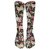 PUG Flower Compression Socks Soccer Socks Knee High Socks For Running, Medical, Athletic, Edema, Diabetic, Varicose Veins, Travel, Pregnancy, Shin Splints, Nursing.