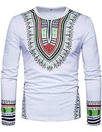 ♚ Camiseta Estampada Africana para Hombre,Camiseta de Manga Larga con Cuello en V de Manga Larga con…