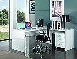 Tecnos Eckschreibtisch Selina weiß Hochglanz | Schreibtisch Ecke Winkelkombination | Bürotisch Computertisch Arbeitstisch | PC Tisch ★