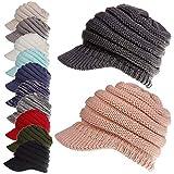 Pferdeschwanz Messy Bun Womens Beanie Ribbed Hat Cap (Farbe : Grau)