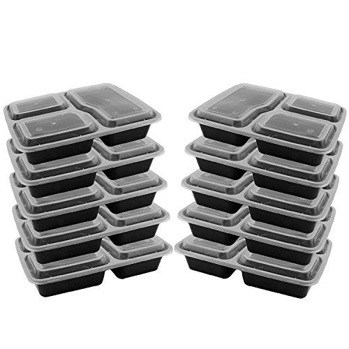 10 emballages alimentaires jetables contenants pour aliments en plastique boîtes à lunch boîte de rangement Bento Box 3 compartiment avec couvercle congélateur lave-vaisselle coffre-fort