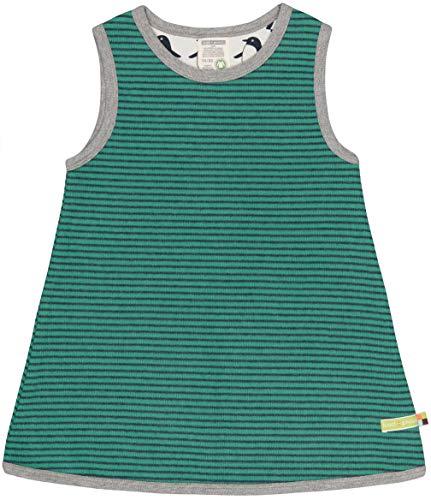 loud + proud Mädchen Ringel Aus Bio Baumwolle, GOTS Zertifiziert Kleid, Grün (Jade Jad), 128 (Herstellergröße: 122/128)
