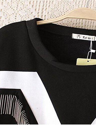PU&PU Robe Aux femmes Ample / Lace Street Chic,Imprimé Col Arrondi Au dessus du genou Polyester BLACK-ONESIZE
