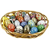 ShalinIndia Wooden Easter Eggs Ornaments in Basket - Set of 18 - Multicolored - Intricate Designs - Perfect Home Decor for the Holidays