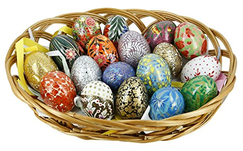 ShalinIndia Set mit 18 Pappmaché Weihnachten Dekoration Holz Eier, Oster Deko (Pappmaché Weihnachten Ornamente)