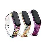 Fit-power Ersatz-Armband für Xiaomi Mi Band,Smart-Watch-Armband (nicht für MI Band 2/1S), 3 Stück, Design-3A