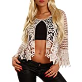 YC Fashion & Style Damen Cardigan Bolero Häkel-Look, Farbe:Creme, Größe:One Size
