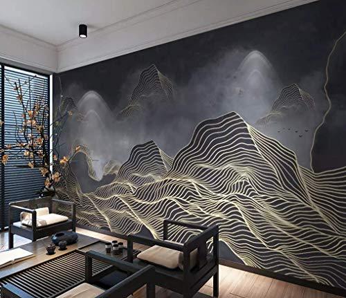 HONGYUANZHANG Goldene Persönlichkeit Bergspitzen Custom 3D Photo Wallpaper Künstlerische Landschaft Tv Hintergrundbild,68Inch (H) X 100Inch (W)