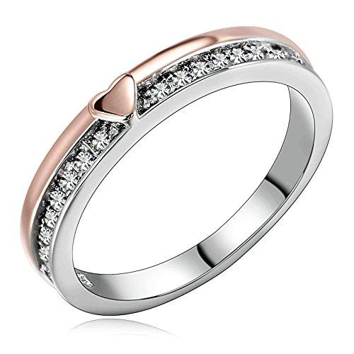 AnazoZ Alliance Argent & Or Rose Bague Femme Cœur Éternité Anneau Couple Classique Bague Mariage (Prix pour 1pc)