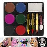 lailongp 6 Farben Aquarellfarben, Gesichtskörperfarbe Palette Set, Make-up ungiftig Wasser Farbe Öl Weihnachtsfeier Kostüm Primer