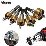 #5: Binoax 5 Pcs HSS Carbide Tip Drill Bit Saw Set 16/18.5/20/25/30mm Metal Wood Drilling Hole Cut Tool for Installing Locks