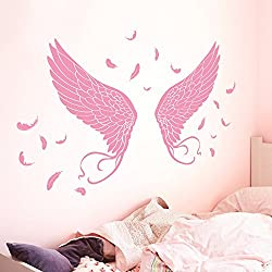 Bomeautify Kunst Flügel Wandaufkleber Papier Aufkleber Zimmer Schlafzimmer Wandgestaltung Romantik selbstklebend Wallpaper
