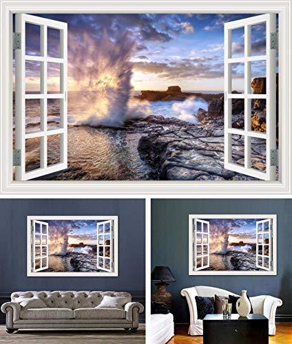 TWTIQ Sprühen Sie Natürliche Schönheit Fenster Aufkleber Wohnzimmer Fenster Wand Aufkleber 3D Kunst AufkleberM