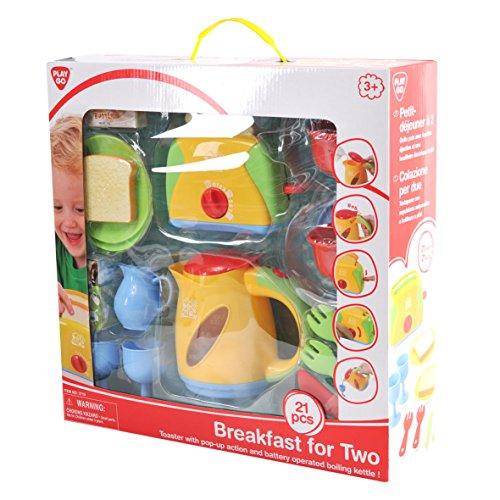 Preisvergleich Produktbild Playgo 3710 - Spielküche Toaster, Wasserkocher, Geschirr und Frühstück Set, 21-teilig