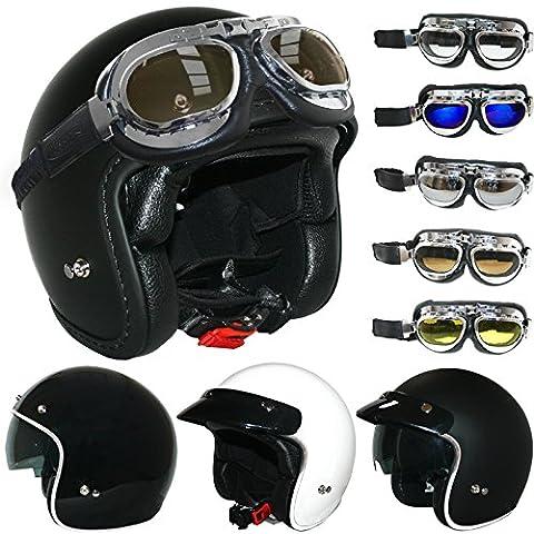 Leopard LEO-601 Open Face Helmet Scooter Motorbike Motorcycle Crash Helmet Matt Black M + Vintage Metal GOGGLES Silver Frame Clear Lens