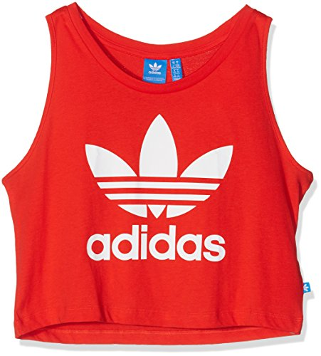 Adidas-Canotta donna Loose Crop, Donna, Loose Crop, Rosso acceso, 40