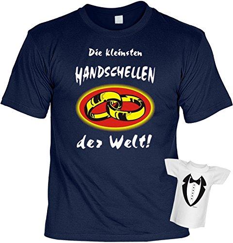Fun T-Shirt Die Kleinsten Handschellen der Welt Shirt Bedruckt Geschenk Set mit Mini Flaschenshirt