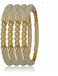 Vivaarya Fashion Jewellery Graceful Gold Plated Bracelet Bangles Kangan For Women And Girls Set Of 4 Pcs