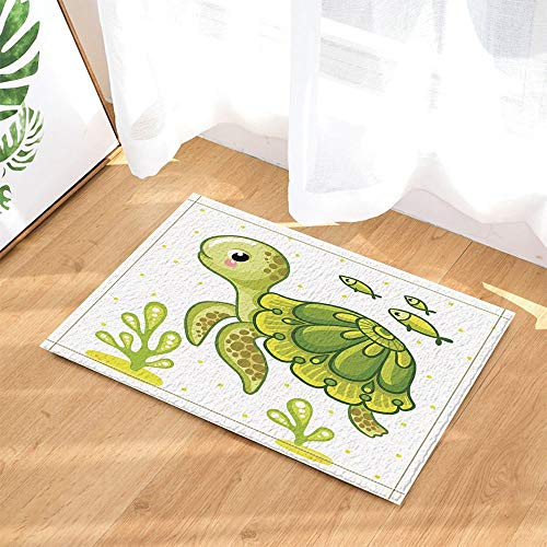 (cdhbh Ocean Tiere Decor Vector grün Schildkröte und Fisch für Kinder Bad Teppiche rutschhemmend Fußmatte Boden Eingänge Innen vorne Fußmatte Kinder Badematte 39,9x 59,9cm Badezimmer Zubehör)