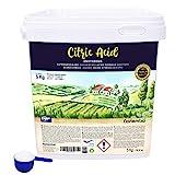NortemBio Ácido Cítrico 5 Kg. Polvo Anhidro, 100% Puro. Para Producción Ecológica. Producto CE.