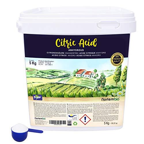 NortemBio Zitronensäure 5 Kg. Wasserfreies Citronensäure Pulver, 100% Reine. Für Ökologischen Produktion. E-Book Inklusiv. -