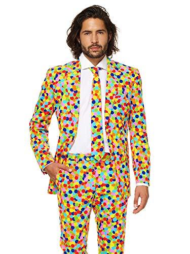 OppoSuits Karnevalskostüme Herren festlichem Druck Anzug mit Krawatte, Confetteroni, 46 (Herren Oktoberfest Kostüme)