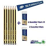 Staedtler Noris 120B–Crayon en graphite–Lot de 6Crayons + 2gommes mars plastic STAEDTLER