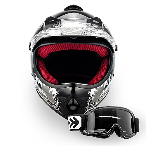 "Armor · AKC-49 Set ""Black"" (black) · Casco Moto-Cross · Scooter Off-Road Quad Racing motocicleta Enduro NINOS · DOT certificado · Click-n-Secure™ Clip · Bolsa de transporte · M (55-56cm)"